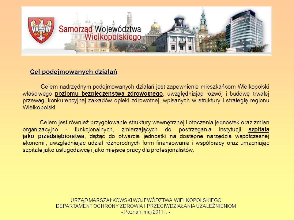 URZĄD MARSZAŁKOWSKI WOJEWÓDZTWA WIELKOPOLSKIEGO DEPARTAMENT OCHRONY ZDROWIA I PRZECIWDZIAŁANIA UZALEŻNIENIOM - Poznań, maj 2011 r. - Cel podejmowanych