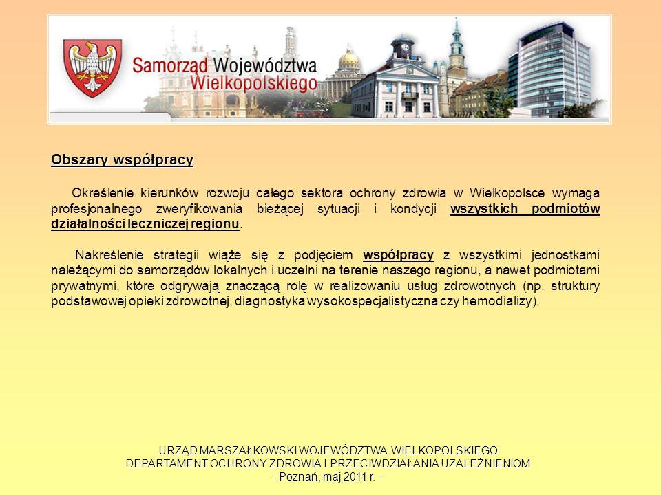 URZĄD MARSZAŁKOWSKI WOJEWÓDZTWA WIELKOPOLSKIEGO DEPARTAMENT OCHRONY ZDROWIA I PRZECIWDZIAŁANIA UZALEŻNIENIOM - Poznań, maj 2011 r. - Obszary współprac