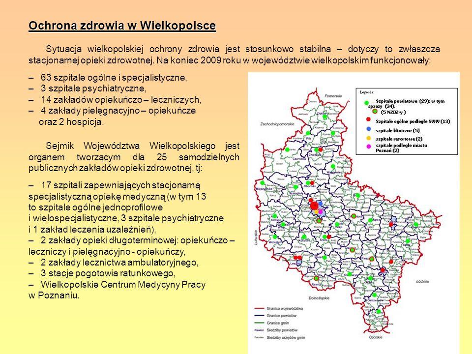 Ochrona zdrowia w Wielkopolsce Sytuacja wielkopolskiej ochrony zdrowia jest stosunkowo stabilna – dotyczy to zwłaszcza stacjonarnej opieki zdrowotnej.
