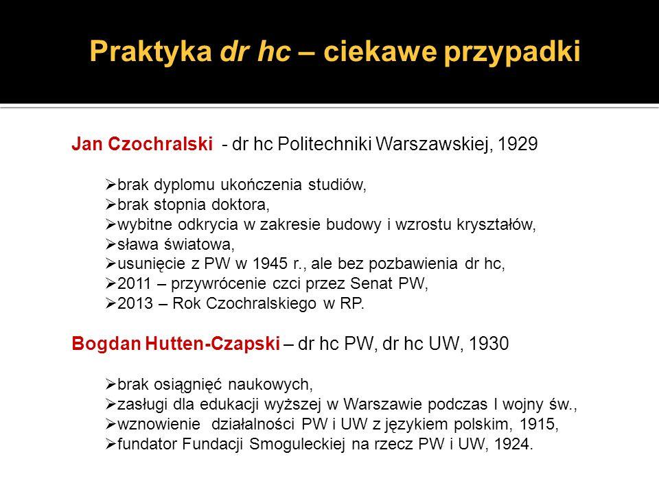 Praktyka dr hc – ciekawe przypadki Jan Czochralski - dr hc Politechniki Warszawskiej, 1929 brak dyplomu ukończenia studiów, brak stopnia doktora, wybi