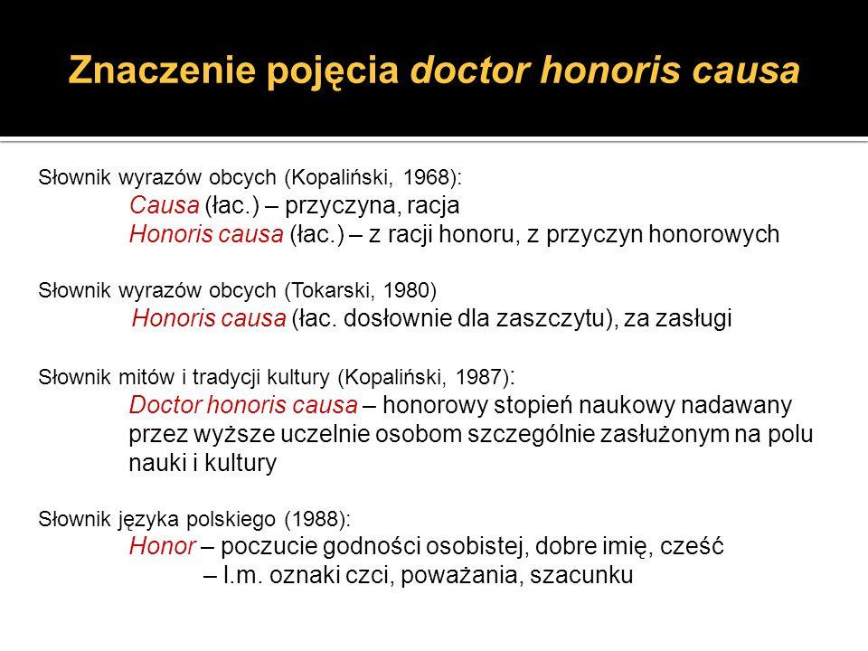 Znaczenie pojęcia doctor honoris causa Słownik wyrazów obcych (Kopaliński, 1968): Causa (łac.) – przyczyna, racja Honoris causa (łac.) – z racji honor