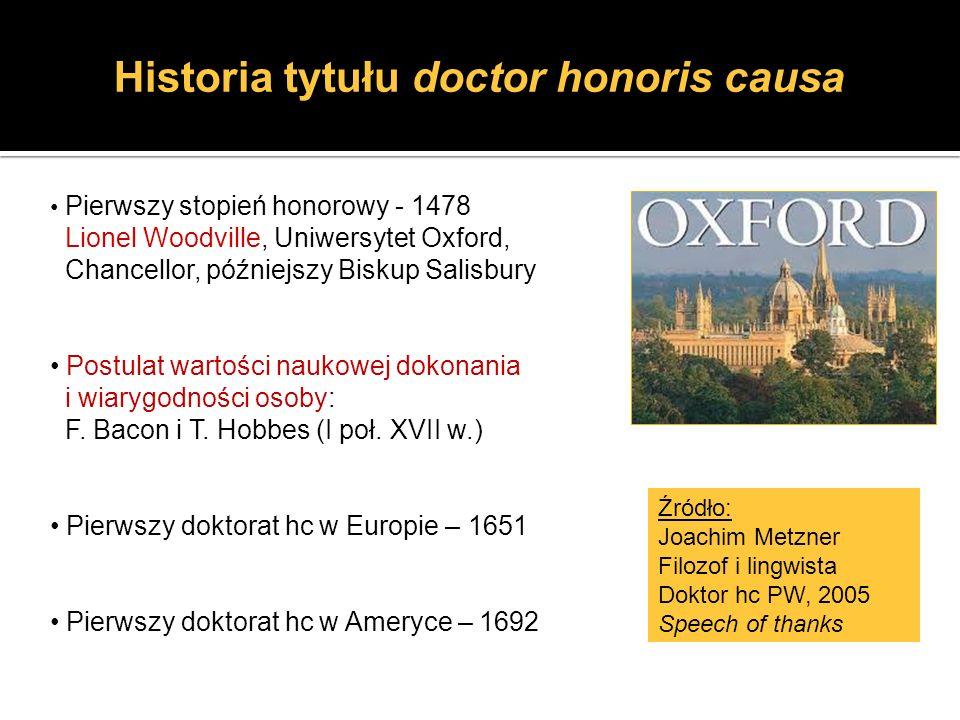 Historia tytułu doctor honoris causa Pierwszy stopień honorowy - 1478 Lionel Woodville, Uniwersytet Oxford, Chancellor, późniejszy Biskup Salisbury Po