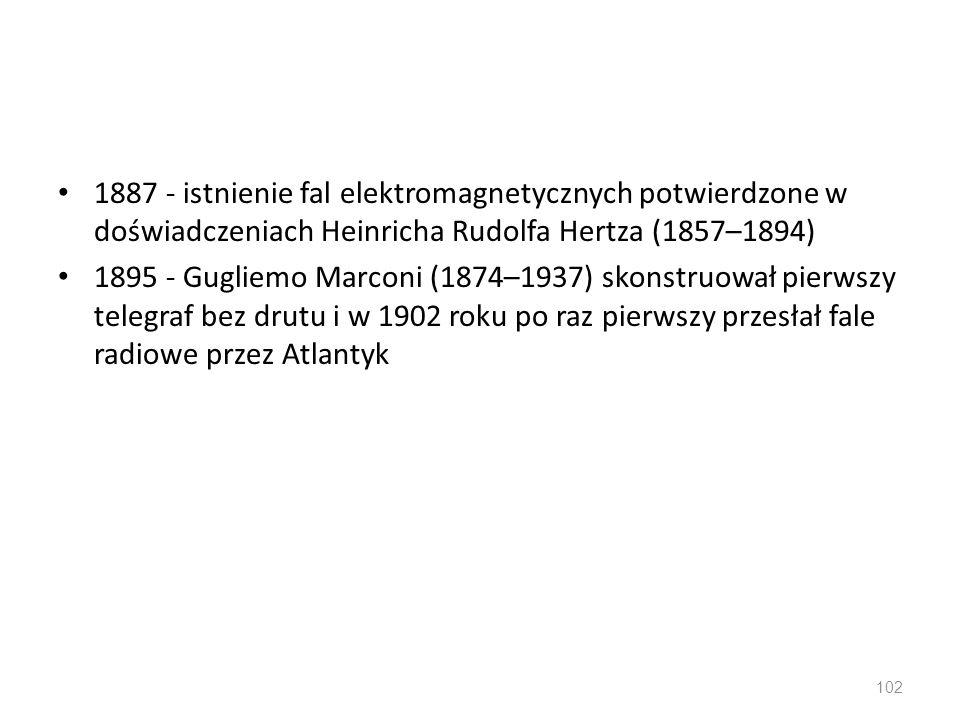 1887 - istnienie fal elektromagnetycznych potwierdzone w doświadczeniach Heinricha Rudolfa Hertza (1857–1894) 1895 - Gugliemo Marconi (1874–1937) skon