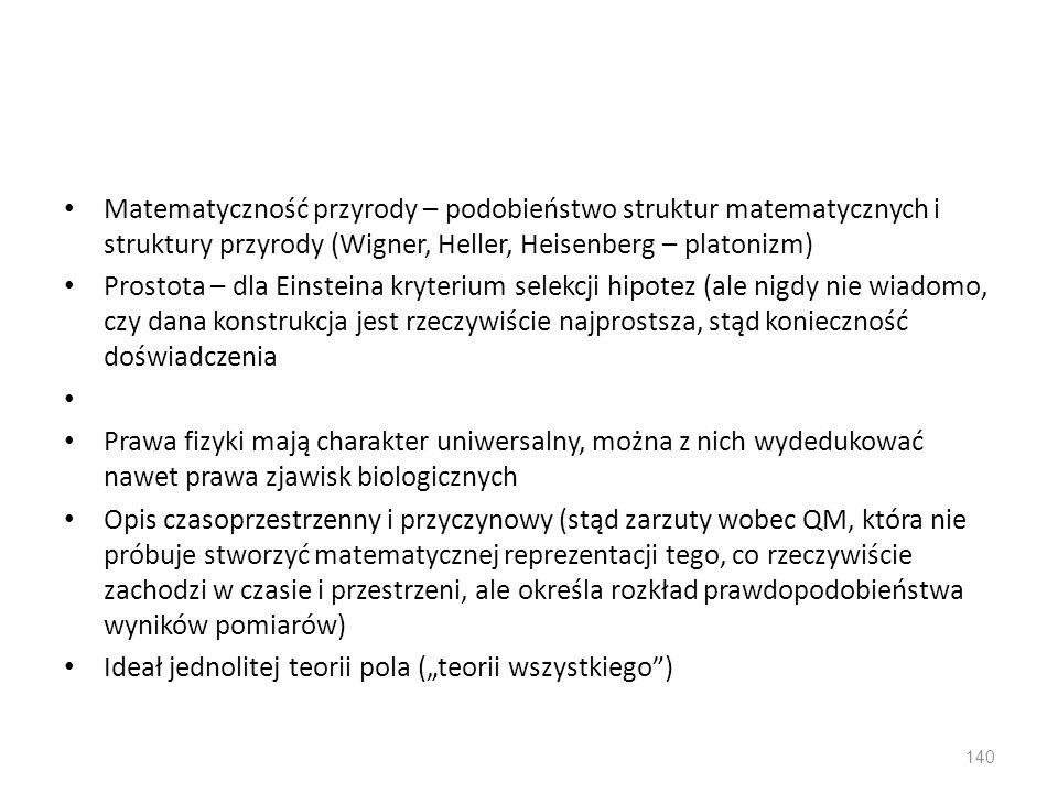 Matematyczność przyrody – podobieństwo struktur matematycznych i struktury przyrody (Wigner, Heller, Heisenberg – platonizm) Prostota – dla Einsteina