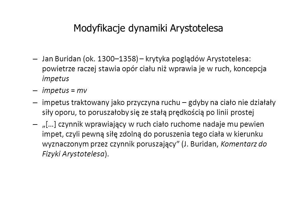 Modyfikacje dynamiki Arystotelesa – Jan Buridan (ok. 1300–1358) – krytyka poglądów Arystotelesa: powietrze raczej stawia opór ciału niż wprawia je w r