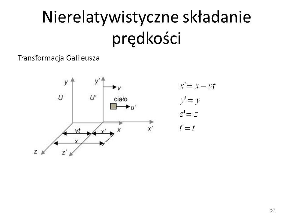 Nierelatywistyczne składanie prędkości Transformacja Galileusza 57