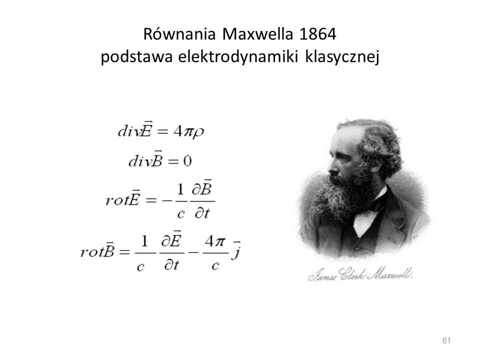 Równania Maxwella 1864 podstawa elektrodynamiki klasycznej 61