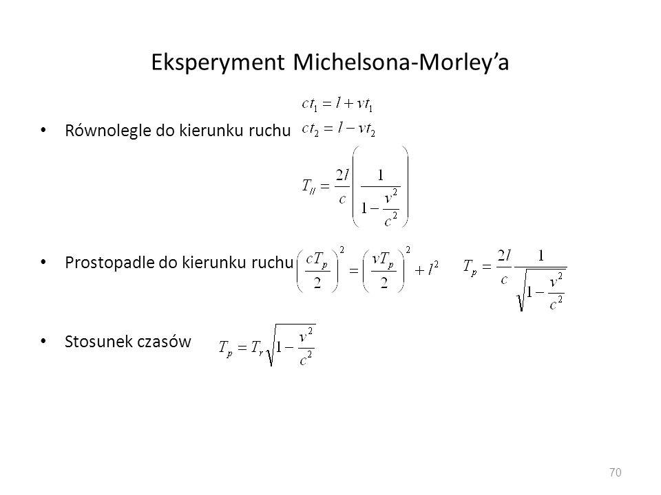 Eksperyment Michelsona-Morleya Równolegle do kierunku ruchu Prostopadle do kierunku ruchu Stosunek czasów 70