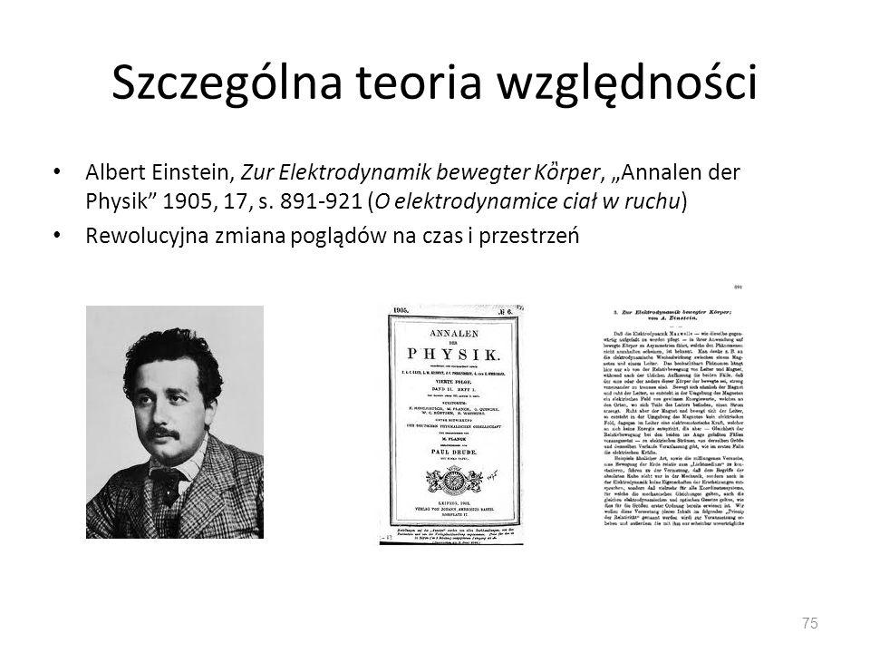Szczególna teoria względności Albert Einstein, Zur Elektrodynamik bewegter Krper, Annalen der Physik 1905, 17, s. 891-921 (O elektrodynamice ciał w ru
