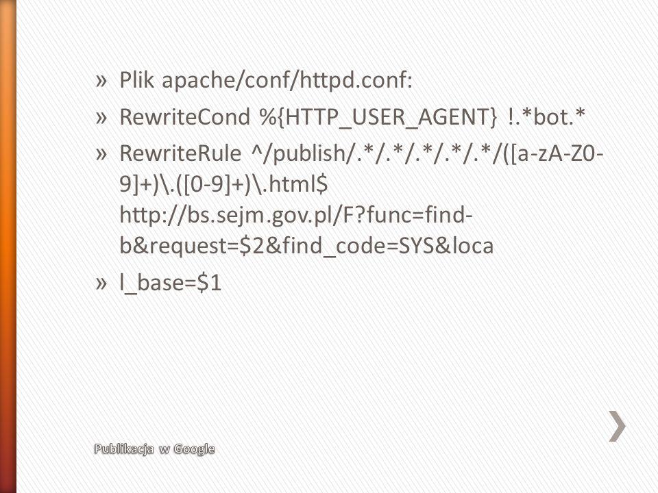 » Plik apache/conf/httpd.conf: » RewriteCond %{HTTP_USER_AGENT} !.*bot.* » RewriteRule ^/publish/.*/.*/.*/.*/.*/([a-zA-Z0- 9]+)\.([0-9]+)\.html$ http: