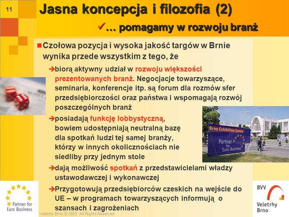 Veletrhy Brno © 2003, All Rights Reserved 10 częścią struktur europejskich Targi o charakterze inwestycyjnym stały się już częścią struktur europejskich za pośrednictwem organizacji branżowych - współorganizatorów tych targów (np.