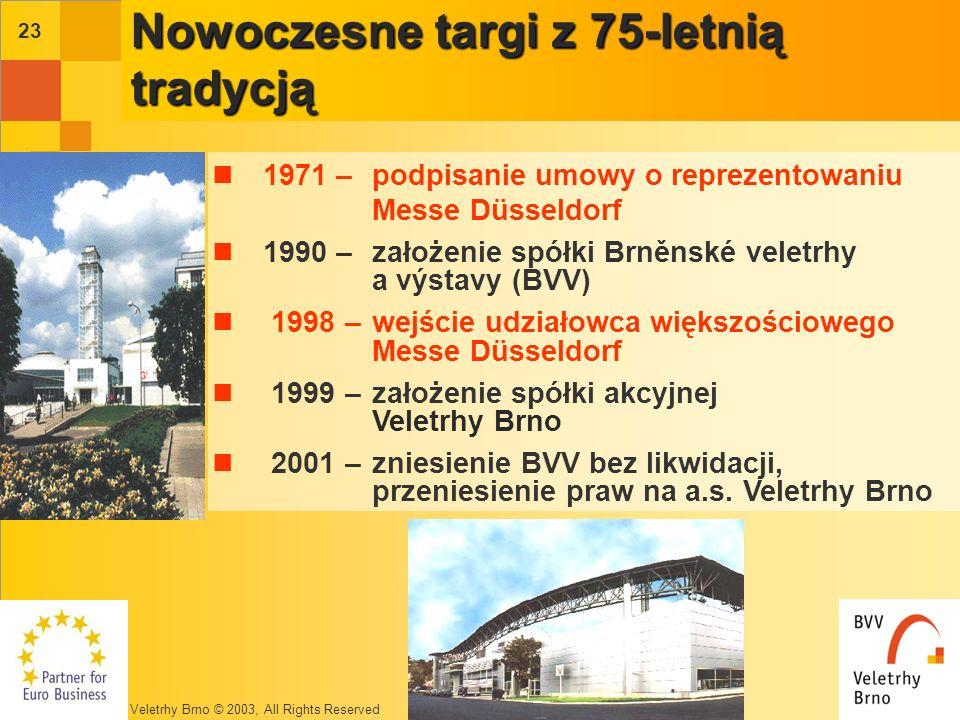 Veletrhy Brno © 2003, All Rights Reserved 22 Nowoczesne targi z 75-letnią tradycją 1928 –powstanie terenów wystawowych z okazji Wystawy Kultury Współczesnej w Czechosłowacji 1959 – 1.