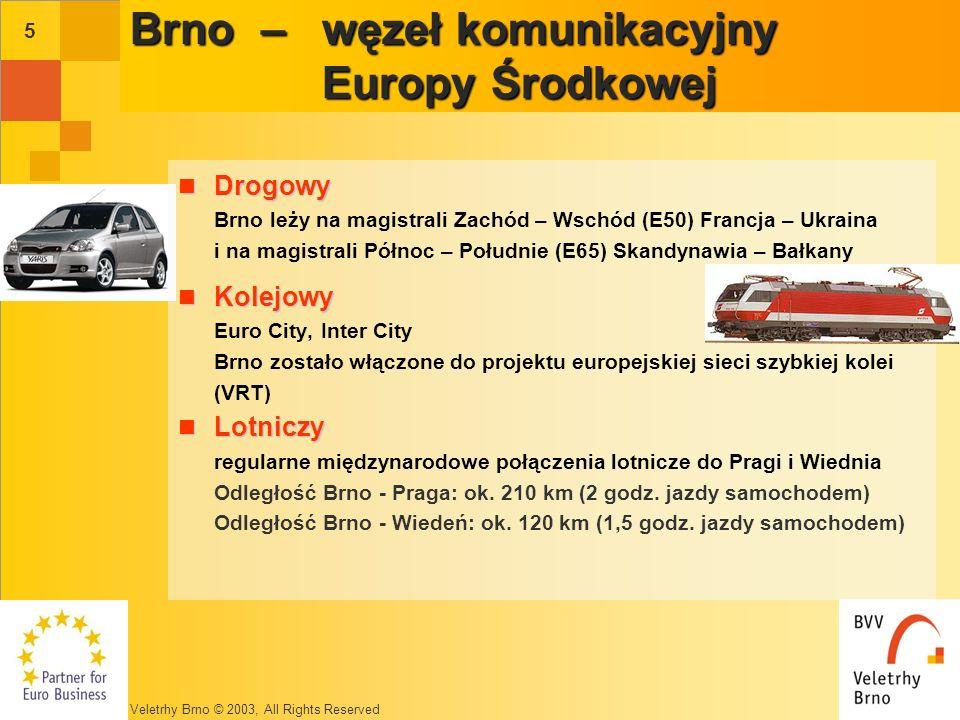 Veletrhy Brno © 2003, All Rights Reserved 5 Brno – węzeł komunikacyjny Europy Środkowej Drogowy Drogowy Brno leży na magistrali Zachód – Wschód (E50) Francja – Ukraina i na magistrali Północ – Południe (E65) Skandynawia – Bałkany Kolejowy Kolejowy Euro City, Inter City Brno zostało włączone do projektu europejskiej sieci szybkiej kolei (VRT) Lotniczy Lotniczy regularne międzynarodowe połączenia lotnicze do Pragi i Wiednia Odległość Brno - Praga: ok.