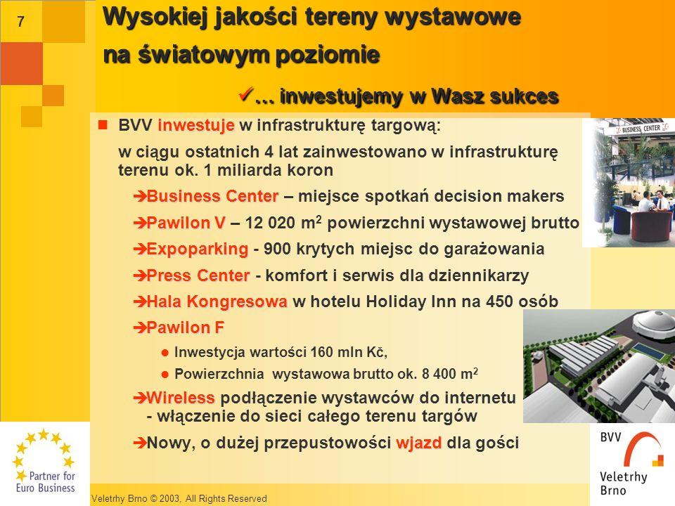 Veletrhy Brno © 2003, All Rights Reserved 7 Wysokiej jakości tereny wystawowe na światowym poziomie … inwestujemy w Wasz sukces inwestuje BVV inwestuje w infrastrukturę targową: w ciągu ostatnich 4 lat zainwestowano w infrastrukturę terenu ok.