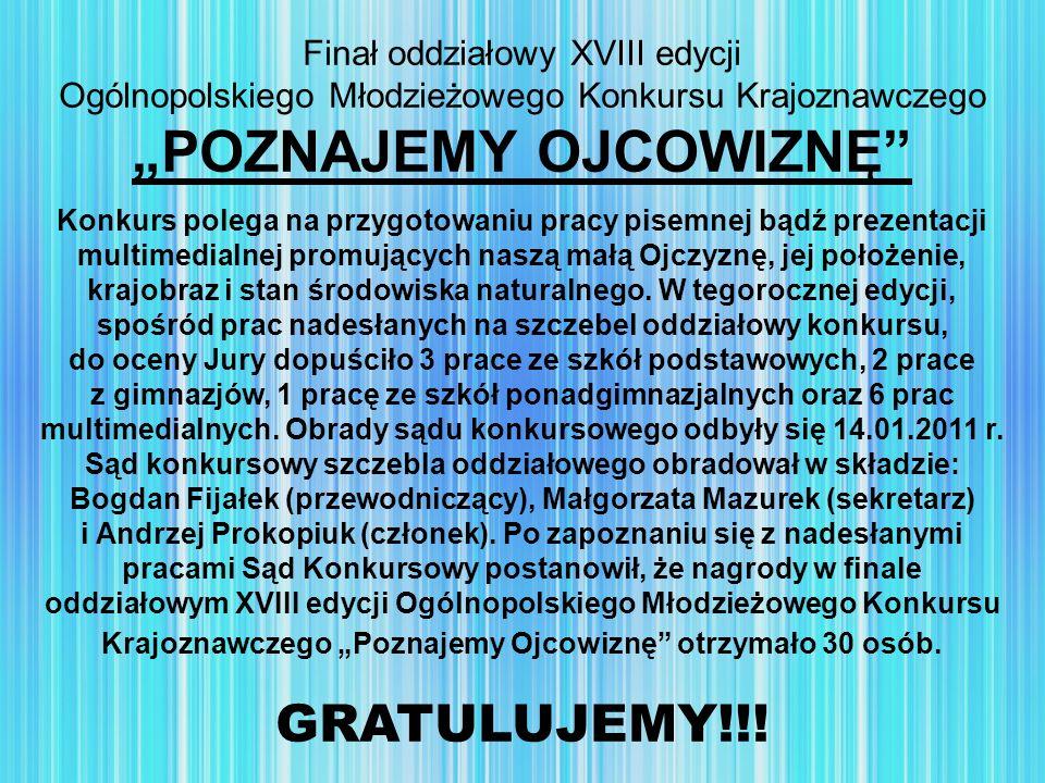 Finał oddziałowy XVIII edycji Ogólnopolskiego Młodzieżowego Konkursu Krajoznawczego POZNAJEMY OJCOWIZNĘ Konkurs polega na przygotowaniu pracy pisemnej