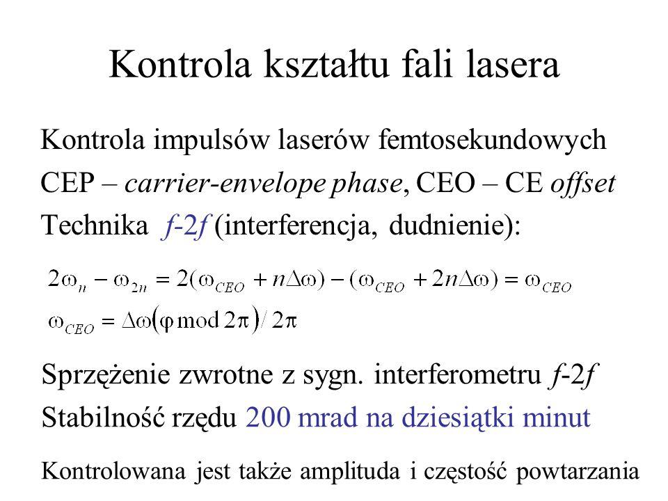 Kontrola kształtu fali lasera Kontrola impulsów laserów femtosekundowych CEP – carrier-envelope phase, CEO – CE offset Technika f-2f (interferencja, d