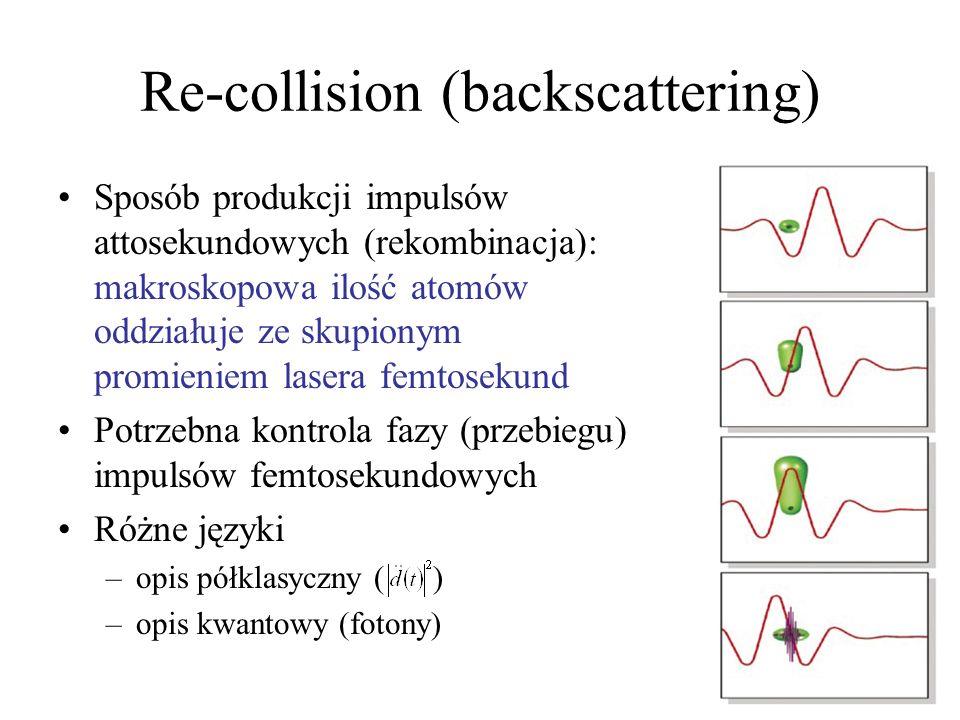 Sposób produkcji impulsów attosekundowych (rekombinacja): makroskopowa ilość atomów oddziałuje ze skupionym promieniem lasera femtosekund Potrzebna ko