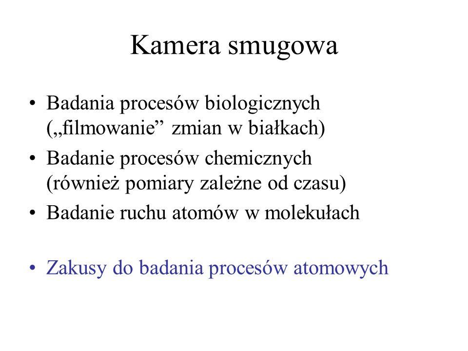 Kamera smugowa Badania procesów biologicznych (filmowanie zmian w białkach) Badanie procesów chemicznych (również pomiary zależne od czasu) Badanie ru