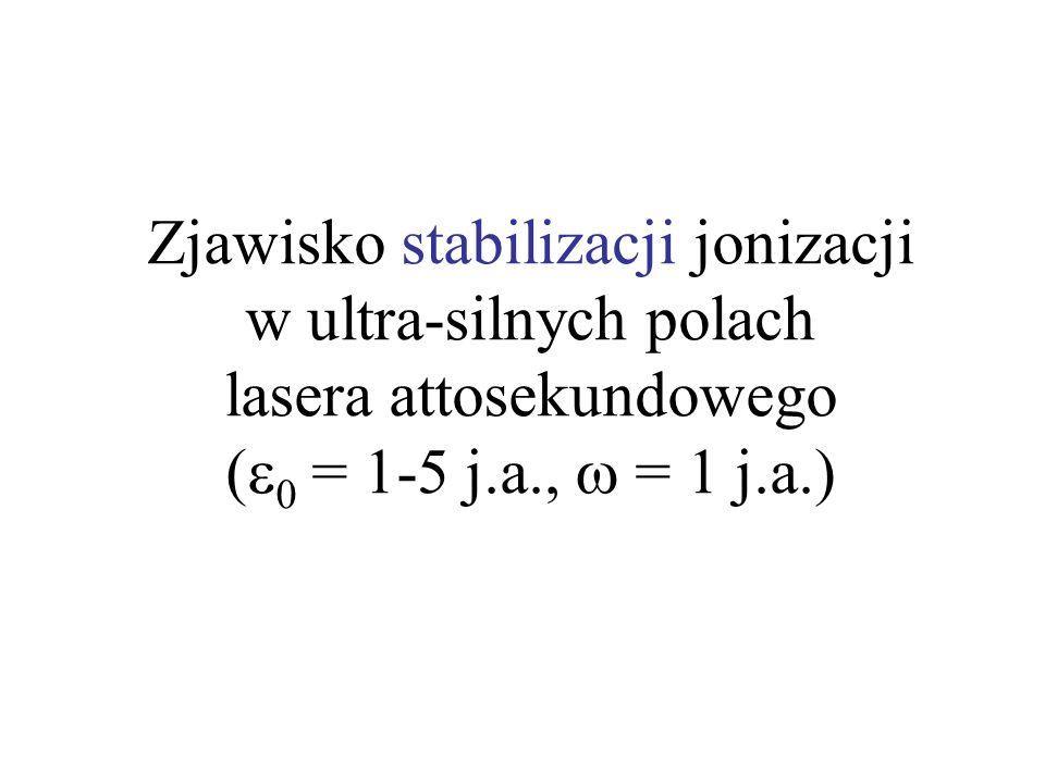 Zjawisko stabilizacji jonizacji w ultra-silnych polach lasera attosekundowego ( 0 = 1-5 j.a., = 1 j.a.)