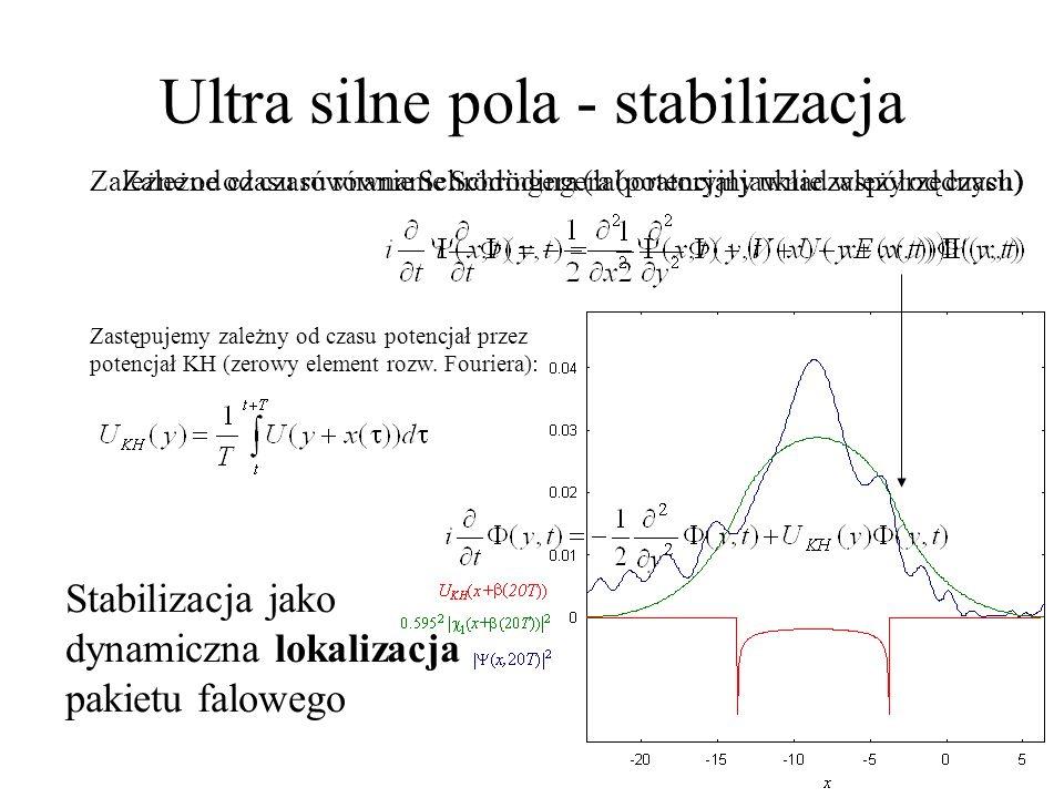 Zastępujemy zależny od czasu potencjał przez potencjał KH (zerowy element rozw. Fouriera): Zależne od czasu równanie Schrödingera (potencjał jawnie za