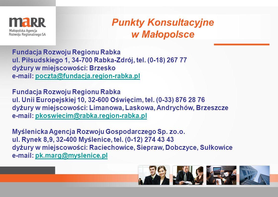 Fundacja Rozwoju Regionu Rabka ul. Piłsudskiego 1, 34-700 Rabka-Zdrój, tel. (0-18) 267 77 dyżury w miejscowości: Brzesko e-mail: poczta@fundacja.regio