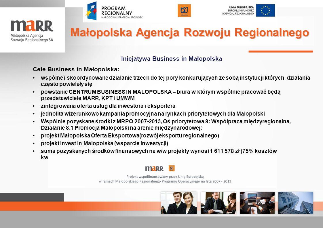 Inicjatywa Business in Małopolska Cele Business in Małopolska: wspólne i skoordynowane działanie trzech do tej pory konkurujących ze sobą instytucji k