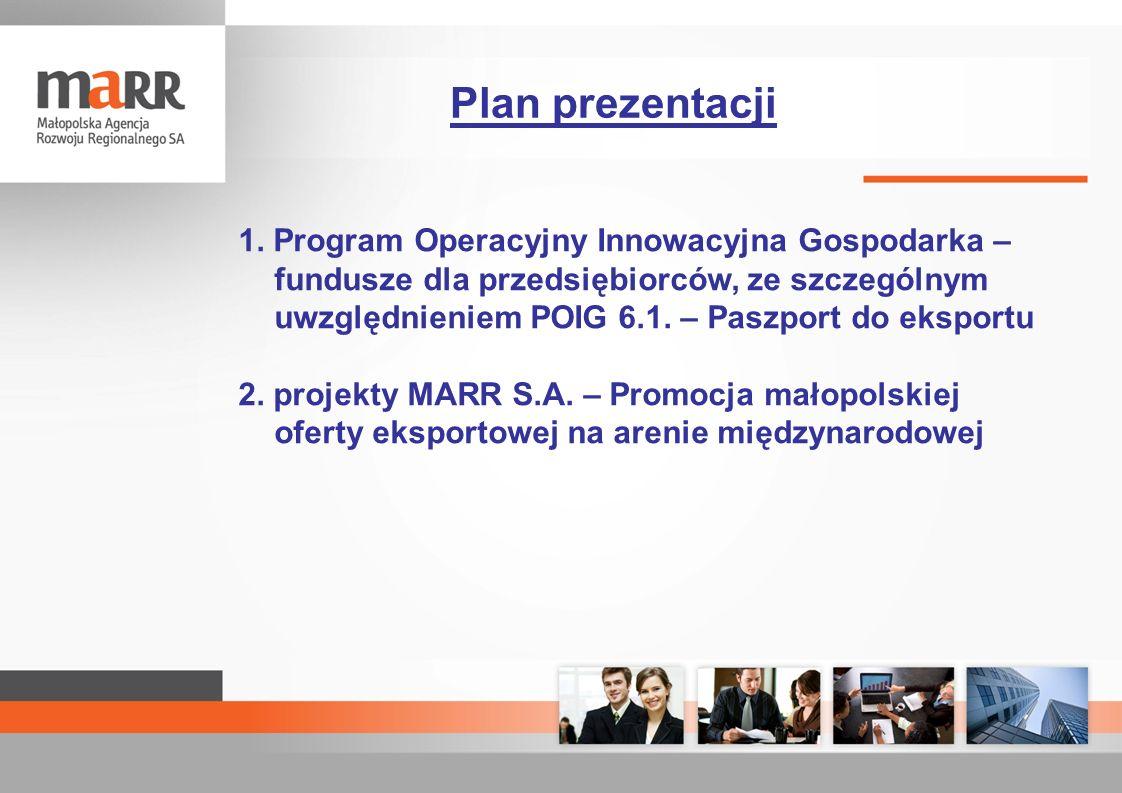 1. Program Operacyjny Innowacyjna Gospodarka – fundusze dla przedsiębiorców, ze szczególnym uwzględnieniem POIG 6.1. – Paszport do eksportu 2. projekt