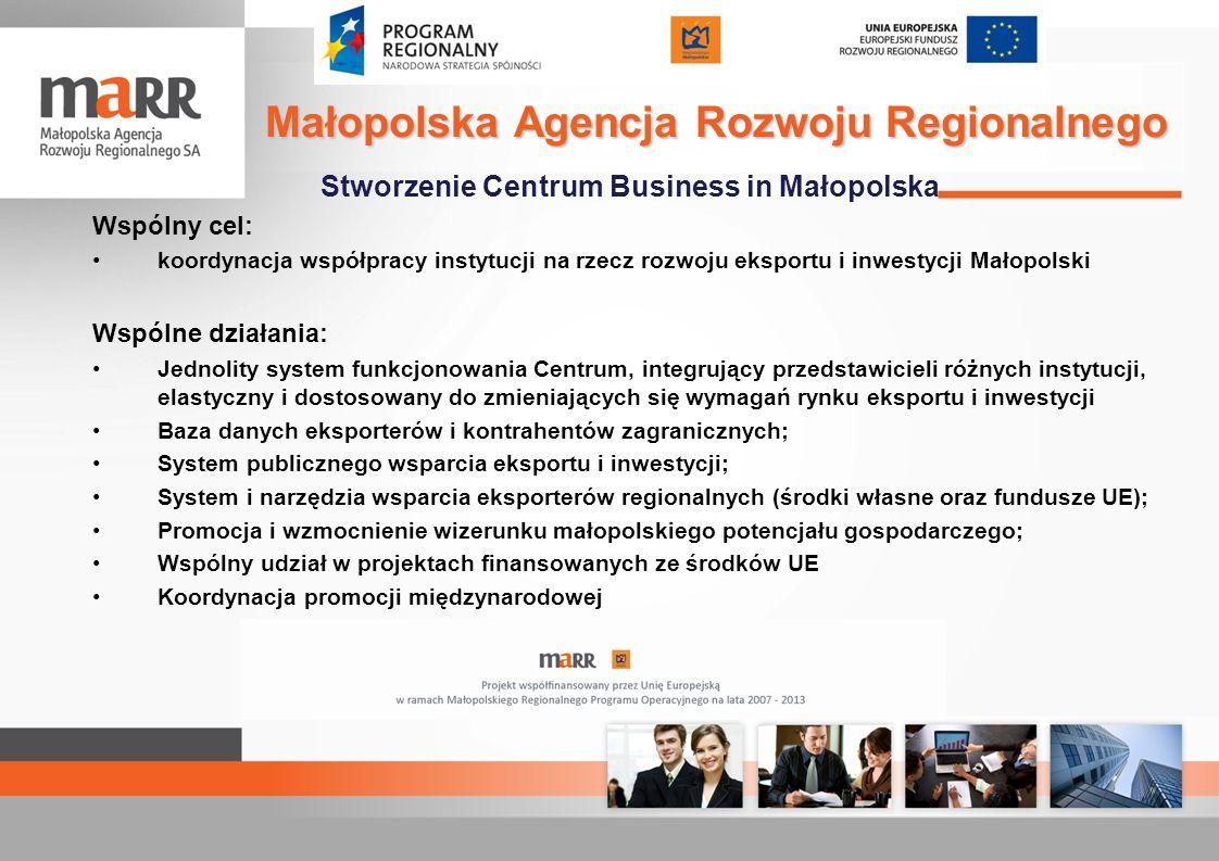 Stworzenie Centrum Business in Małopolska Wspólny cel: koordynacja współpracy instytucji na rzecz rozwoju eksportu i inwestycji Małopolski Wspólne dzi