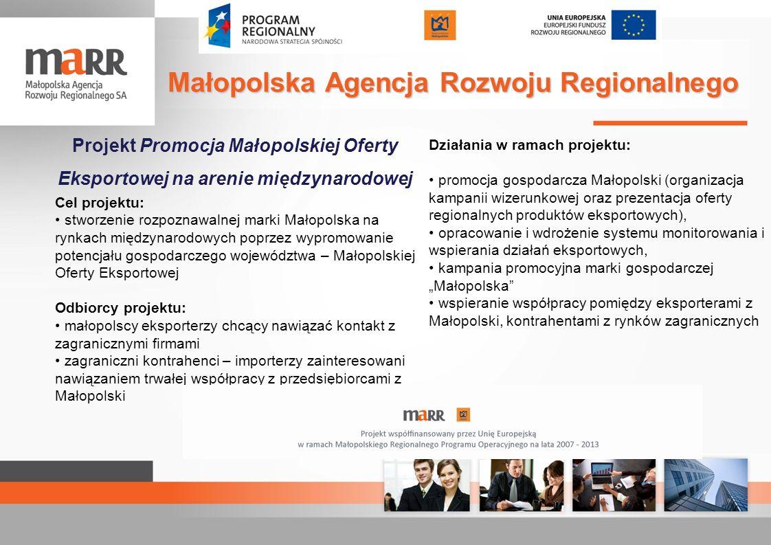 Projekt Promocja Małopolskiej Oferty Eksportowej na arenie międzynarodowej Cel projektu: stworzenie rozpoznawalnej marki Małopolska na rynkach międzyn