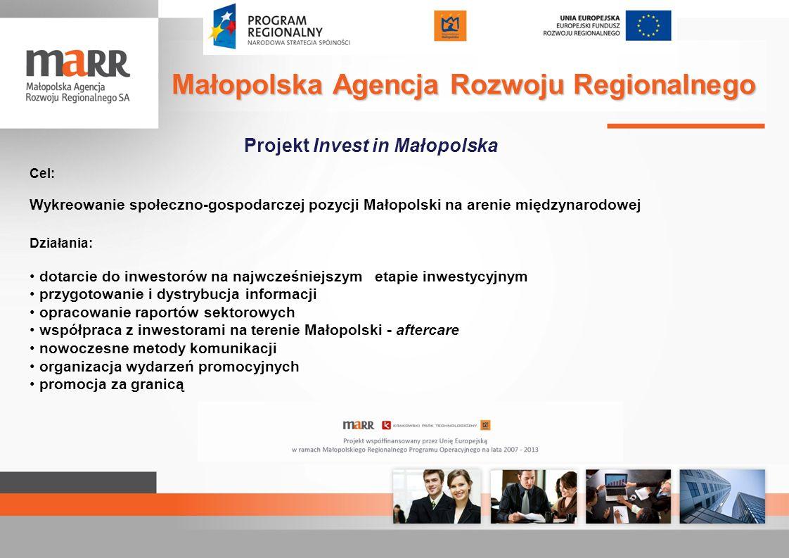 Projekt Invest in Małopolska Cel: Wykreowanie społeczno-gospodarczej pozycji Małopolski na arenie międzynarodowej Działania: dotarcie do inwestorów na