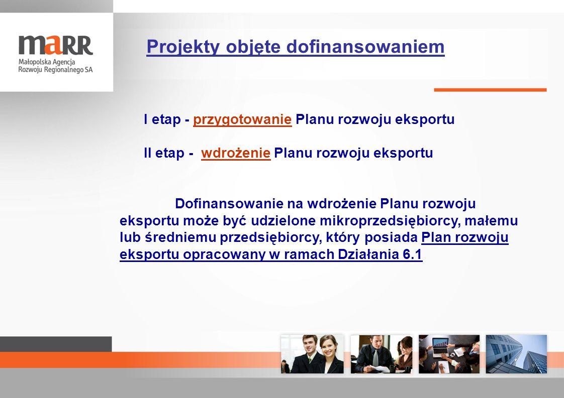 I etap - przygotowanie Planu rozwoju eksportu II etap - wdrożenie Planu rozwoju eksportu Dofinansowanie na wdrożenie Planu rozwoju eksportu może być u