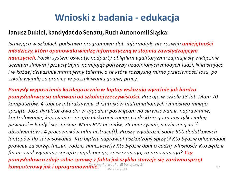 Wnioski z badania - edukacja Janusz Dubiel, kandydat do Senatu, Ruch Autonomii Śląska: Istniejąca w szkołach podstawa programowa dot.