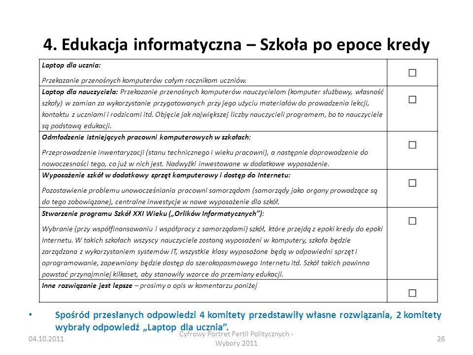 4. Edukacja informatyczna – Szkoła po epoce kredy Spośród przesłanych odpowiedzi 4 komitety przedstawiły własne rozwiązania, 2 komitety wybrały odpowi