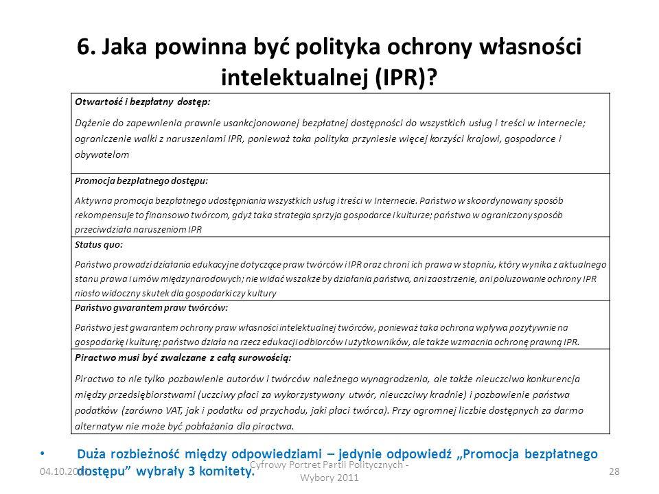6. Jaka powinna być polityka ochrony własności intelektualnej (IPR).