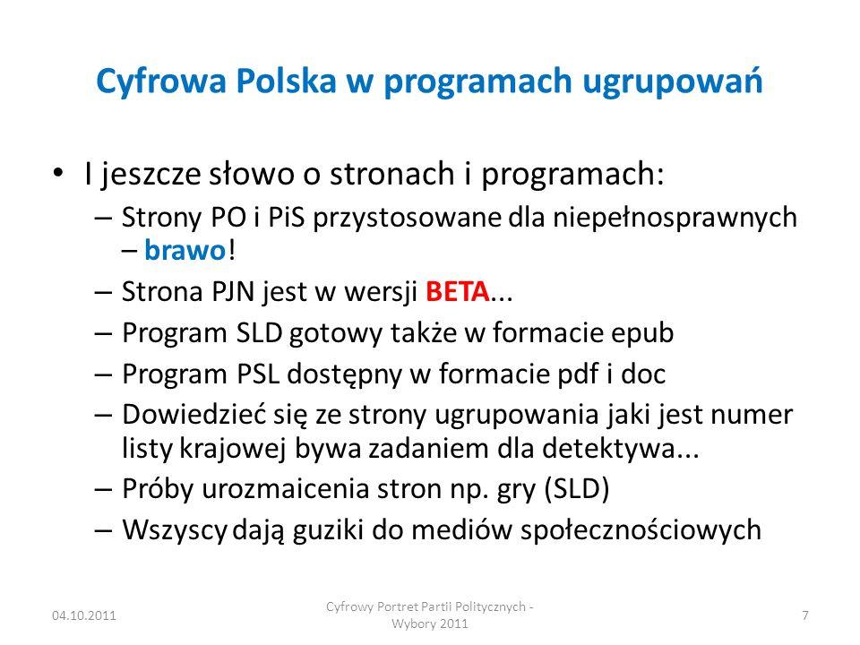 Cyfrowa Polska w programach ugrupowań I jeszcze słowo o stronach i programach: – Strony PO i PiS przystosowane dla niepełnosprawnych – brawo.