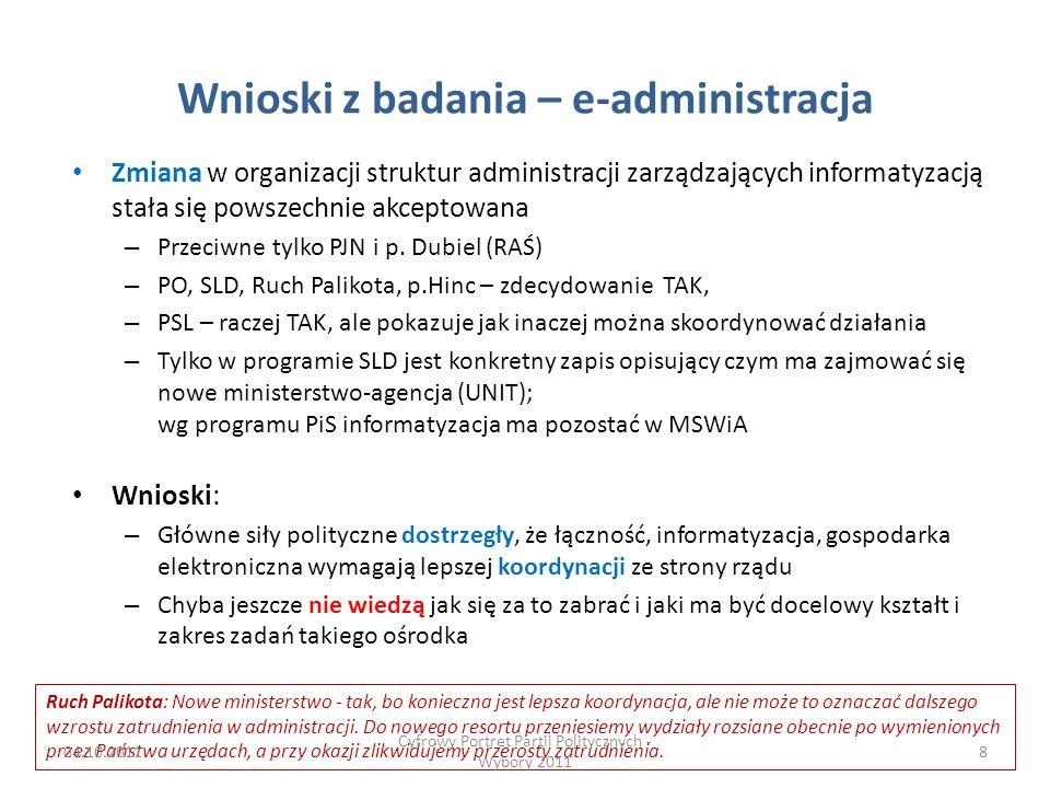 Wnioski z badania – e-administracja Zmiana w organizacji struktur administracji zarządzających informatyzacją stała się powszechnie akceptowana – Przeciwne tylko PJN i p.