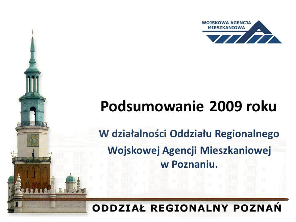 Podsumowanie 2009 roku W działalności Oddziału Regionalnego Wojskowej Agencji Mieszkaniowej w Poznaniu.