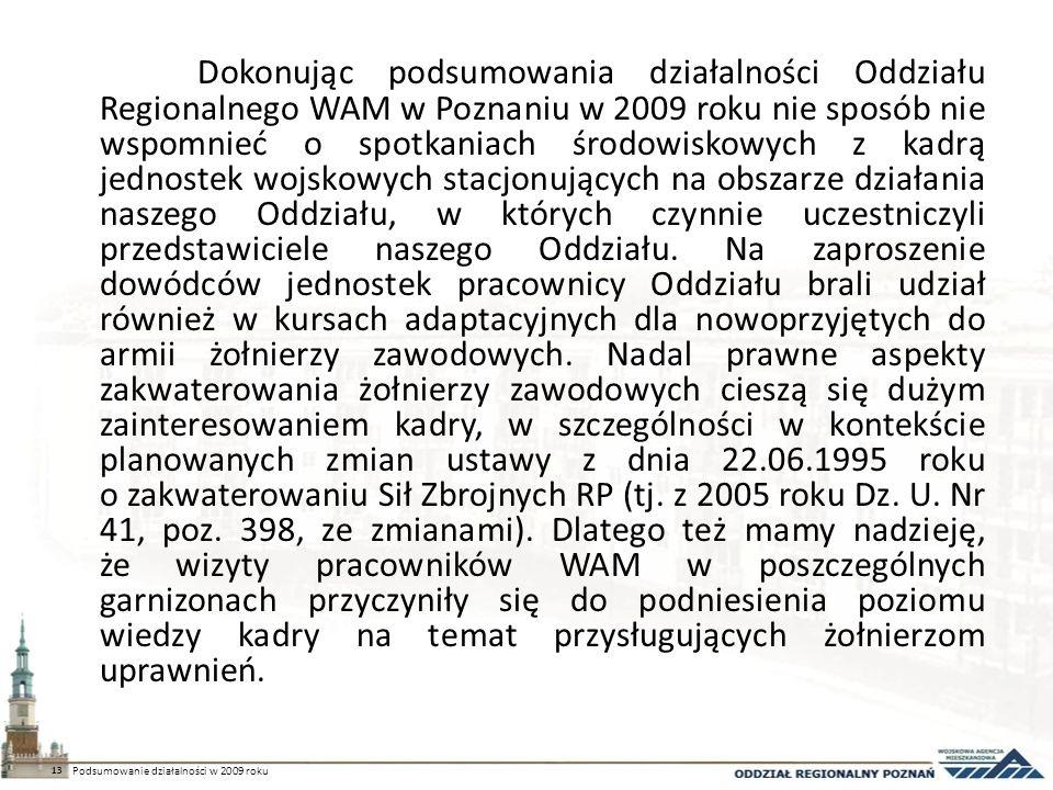 Dokonując podsumowania działalności Oddziału Regionalnego WAM w Poznaniu w 2009 roku nie sposób nie wspomnieć o spotkaniach środowiskowych z kadrą jednostek wojskowych stacjonujących na obszarze działania naszego Oddziału, w których czynnie uczestniczyli przedstawiciele naszego Oddziału.