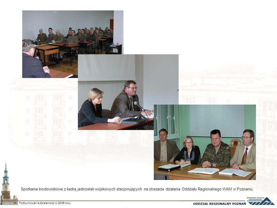 Spotkania środowiskowe z kadrą jednostek wojskowych stacjonujących na obszarze działania Oddziału Regionalnego WAM w Poznaniu. 14 Podsumowanie działal