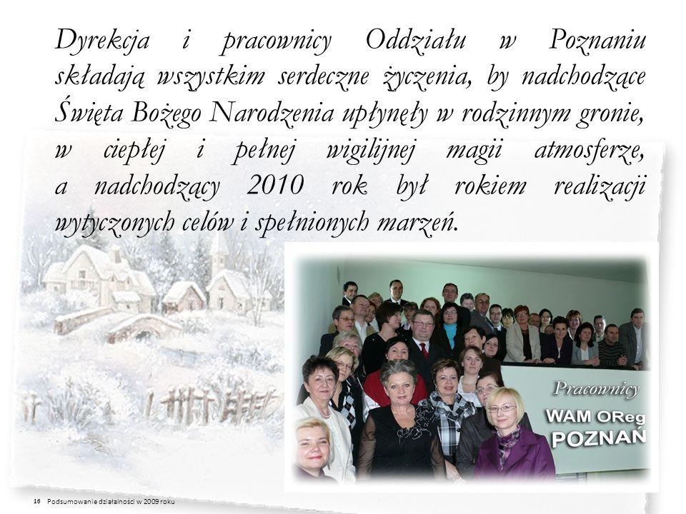 Dyrekcja i pracownicy Oddziału w Poznaniu składają wszystkim serdeczne życzenia, by nadchodzące Święta Bożego Narodzenia upłynęły w rodzinnym gronie, w ciepłej i pełnej wigilijnej magii atmosferze, a nadchodzący 2010 rok był rokiem realizacji wytyczonych celów i spełnionych marzeń.
