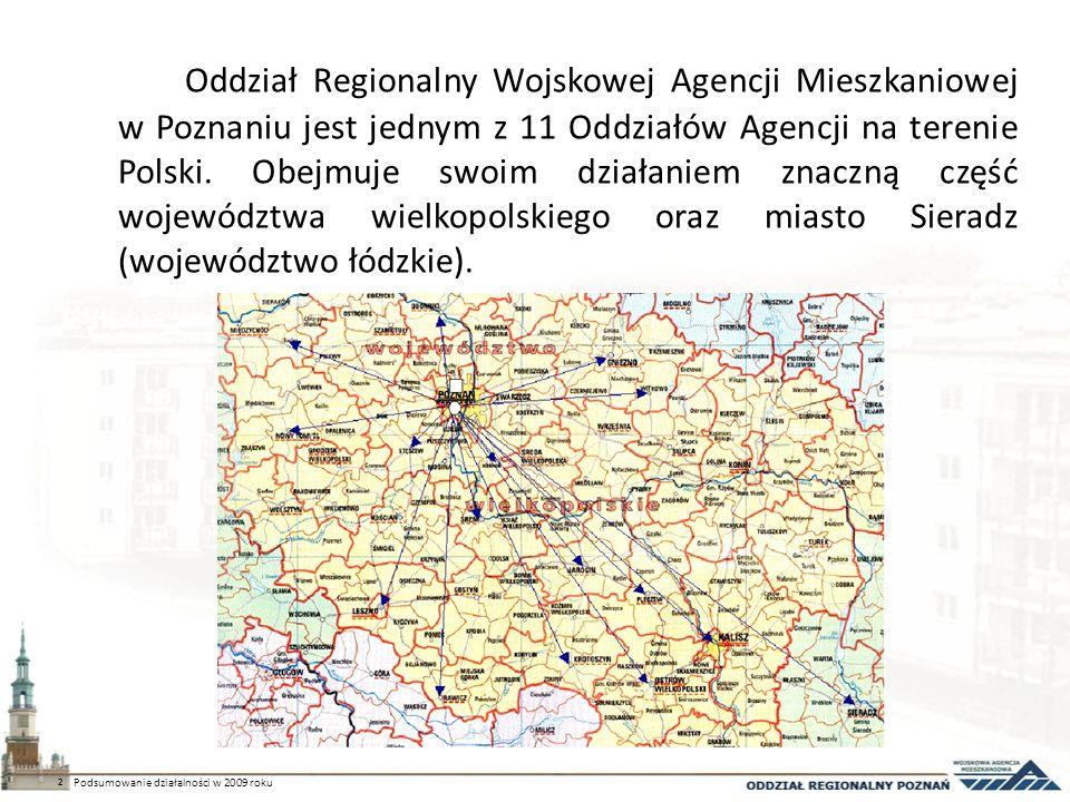 Oddział Regionalny Wojskowej Agencji Mieszkaniowej w Poznaniu jest jednym z 11 Oddziałów Agencji na terenie Polski.