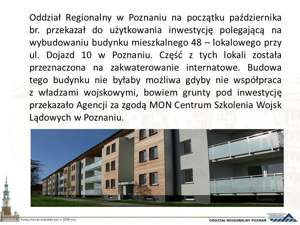 Oddział Regionalny w Poznaniu na początku października br. przekazał do użytkowania inwestycję polegającą na wybudowaniu budynku mieszkalnego 48 – lok