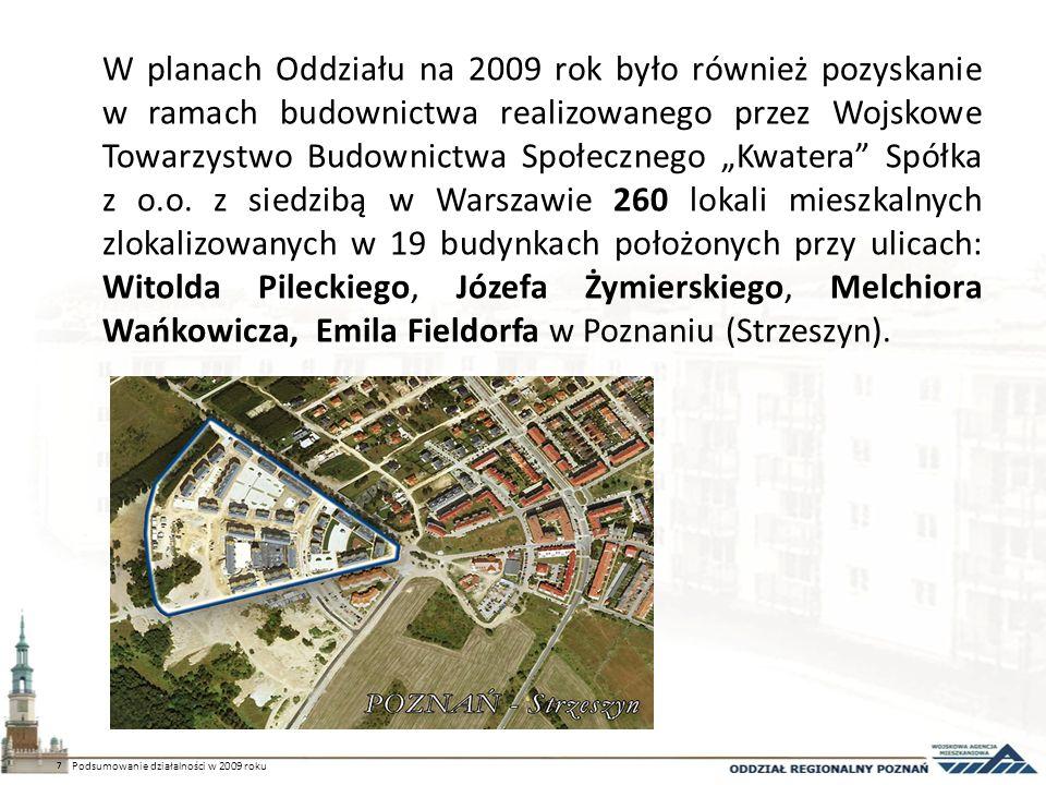 W planach Oddziału na 2009 rok było również pozyskanie w ramach budownictwa realizowanego przez Wojskowe Towarzystwo Budownictwa Społecznego Kwatera S