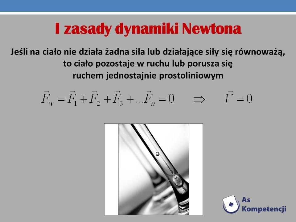 I zasady dynamiki Newtona Jeśli na ciało nie działa żadna siła lub działające siły się równoważą, to ciało pozostaje w ruchu lub porusza się ruchem je