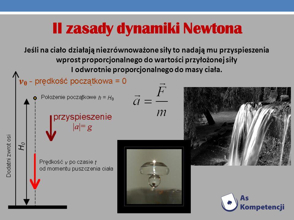 II zasady dynamiki Newtona Jeśli na ciało działają niezrównoważone siły to nadają mu przyspieszenia wprost proporcjonalnego do wartości przyłożonej si