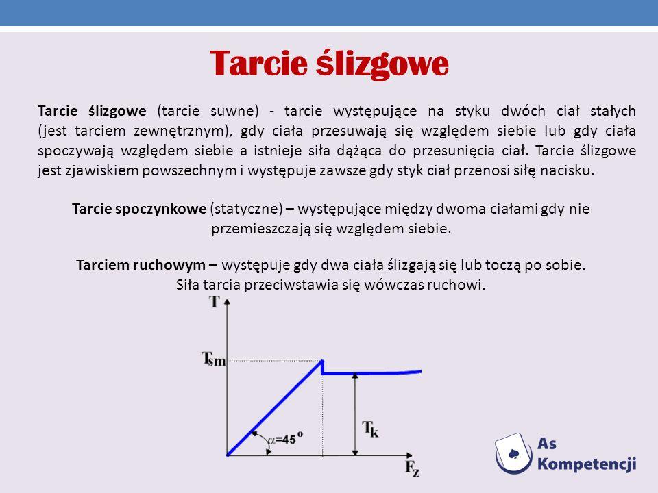 Tarcie spoczynkowe (statyczne) – występujące między dwoma ciałami gdy nie przemieszczają się względem siebie. Tarciem ruchowym – występuje gdy dwa cia