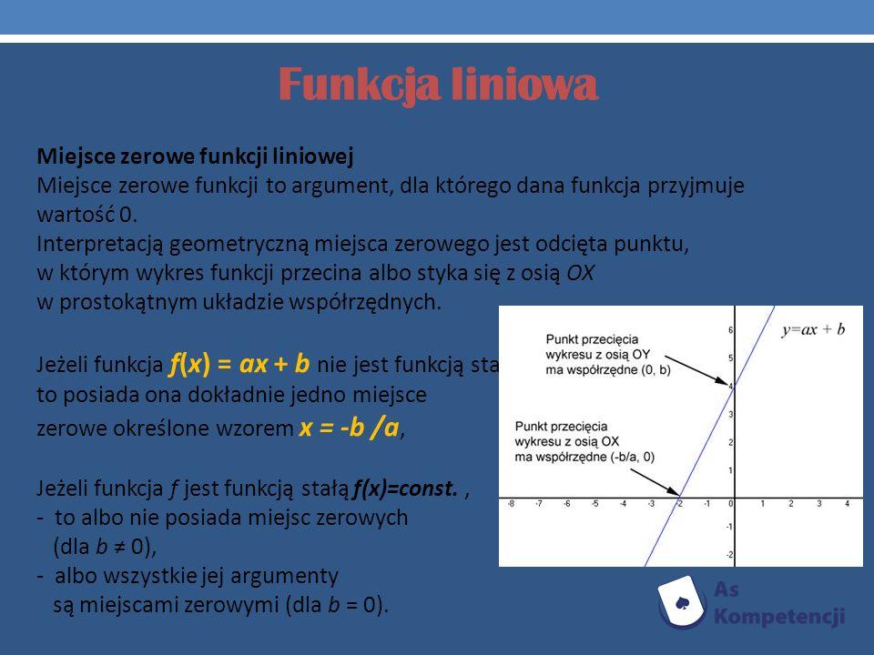 Funkcja liniowa Miejsce zerowe funkcji liniowej Miejsce zerowe funkcji to argument, dla którego dana funkcja przyjmuje wartość 0. Interpretacją geomet