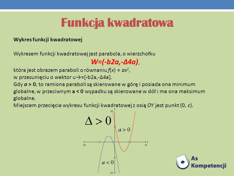 Funkcja kwadratowa Wykres funkcji kwadratowej Wykresem funkcji kwadratowej jest parabola, o wierzchołku W=(-b2a,-Δ4a), która jest obrazem paraboli o r