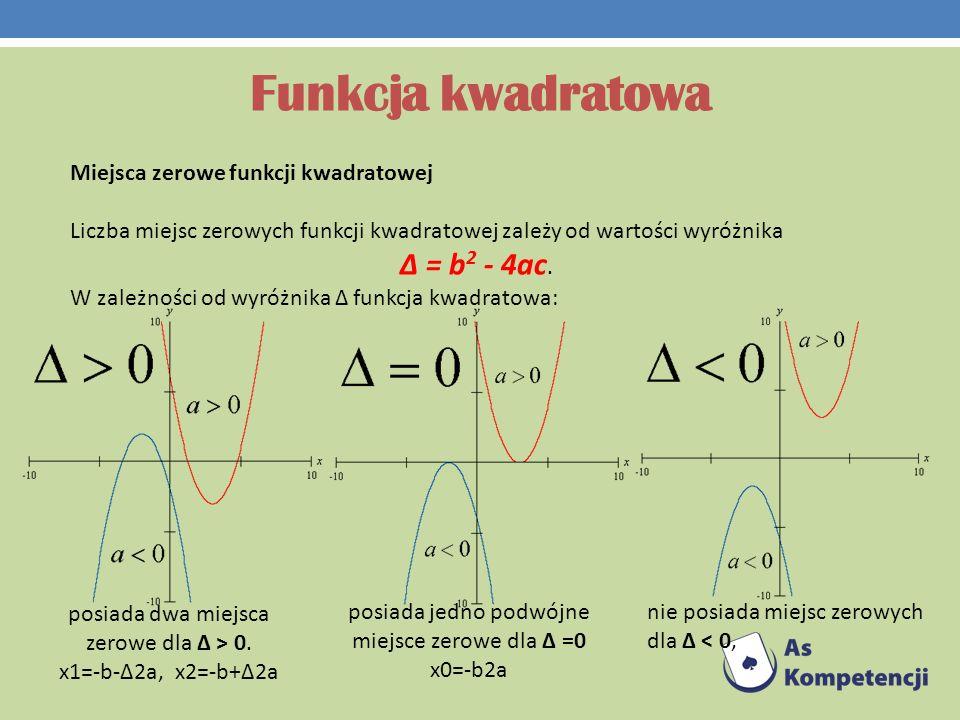 Funkcja kwadratowa Miejsca zerowe funkcji kwadratowej Liczba miejsc zerowych funkcji kwadratowej zależy od wartości wyróżnika Δ = b 2 - 4ac. W zależno