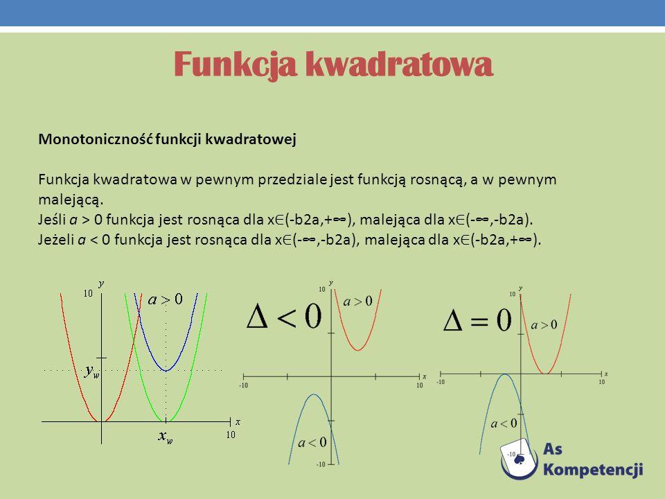 Funkcja kwadratowa Monotoniczność funkcji kwadratowej Funkcja kwadratowa w pewnym przedziale jest funkcją rosnącą, a w pewnym malejącą. Jeśli a > 0 fu